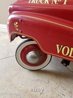 Fire Truck Pedal Car 1950's Style Novelty Original Hose Bell Ladder Toys Fun Red